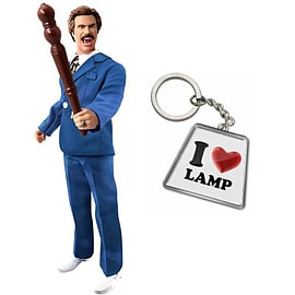 Anchorman Battle Ready Ron Action Figure FREE Keychain Figurines and Sets