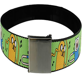 Adventure Time Finn & Jake Singing Web Green Belt: One Size Clothing