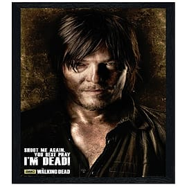 The Walking Dead Daryl Black Wooden Framed Shoot Me Again Maxi Poster 61x91.5cm Posters