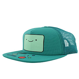 Adventure Time Beemo Trucker Snapback Turquoise Cap: One size Fits All Clothing
