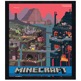 Minecraft Black Wooden Framed World Maxi Poster 61x91.5cm Posters