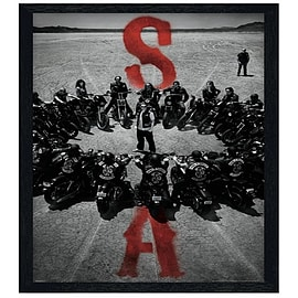 Sons of Anarchy Black Wooden Framed Bike Circle SoA Maxi Poster 61x91.5cm Posters