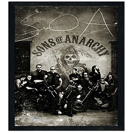 Sons of Anarchy Black Wooden Framed Vintage Bikers SoA Maxi Poster 61x91.5cm Posters