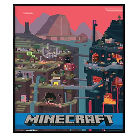 Minecraft Gloss Black Framed World Maxi Poster 61x91.5cm Posters