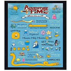 Adventure Time Black Wooden Framed Infographic Maxi Poster 61x91.5cm Posters
