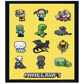 Minecraft Black Wooden Framed Steve And Mob Characters Maxi Poster 61x91.5cm Posters