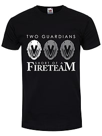 Two Guardians Short Of A Fireteam Men's Black T-shirt: Small (Mens 36 - 38) Clothing