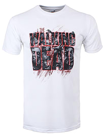 The Walking Dead Zombie Logo White Men's T-shirt: Medium (Mens 38 - 40) Clothing