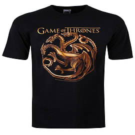 Game of Thrones Targaryen Dragons Black Men's T-shirt: Medium (Mens 38 - 40) Clothing