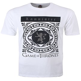 Game of Thrones Lannister Crest White Men's T-shirt: Large (Mens 40- 42) Clothing