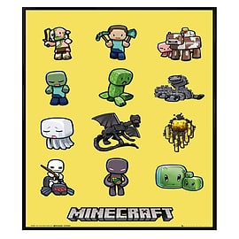 Minecraft Gloss Black Framed Steve And Mob Characters Maxi Poster 61x91.5cm Posters