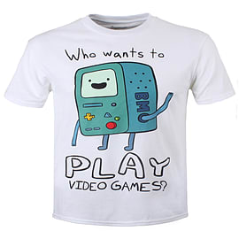 Adventure Time BMO Video Games White Men's T-shirt: XXL (Mens 44-46) Clothing