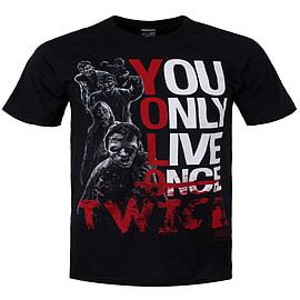 The Walking Dead YOLO Twice Black Men's T-shirt: Large (Mens 40- 42) Clothing
