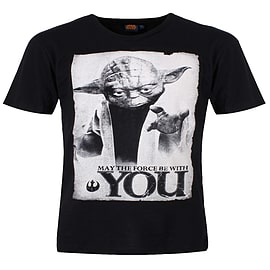 Star Wars May The Force Black Men's T-shirt: Small (Mens 36 - 38) Clothing