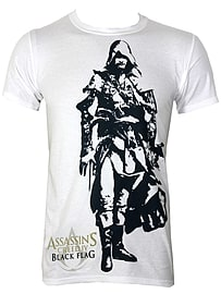 Assassins Creed Black Flag Edward White Men's T-shirt: Large (Mens 40- 42) Clothing