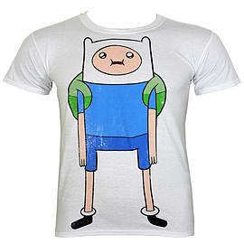 Adventure Time Finn Distressed White Men's T-shirt: Small (Mens 36 - 38) Clothing