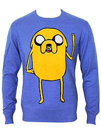 Adventure Time Jake Knit Blue Men's Sweater: Large (Mens 40- 42) Clothing