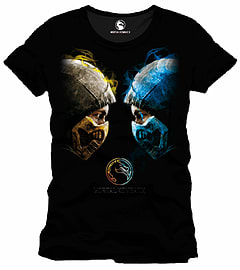 Mortal Kombat Face Off T-Shirt - Black - Extra Large Clothing Cover Art