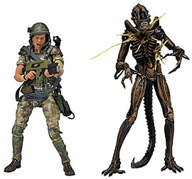 NECA 7-inch Aliens Action Figure Hudson vs Brown Warrior (Pack of 2) Figurines and Sets