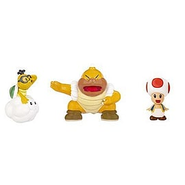 NINTENDO Mario Bros Universe Micro Wave 2 Red Toad, Lakitu, Sumo Bro 3 Pack Figurines and Sets