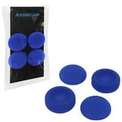 Assecure concave & convex soft silicone thumb grips for Sony PS4, pack of 4 - Blue PS4