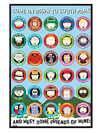 South Park Gloss Black Framed Come On Down Maxi Poster 61x91.5cm Posters