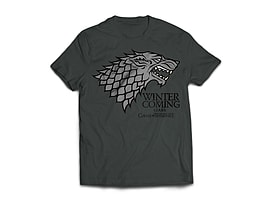 Game of Thrones Stark Mens T-Shirt - Charcoal (XXL) Clothing