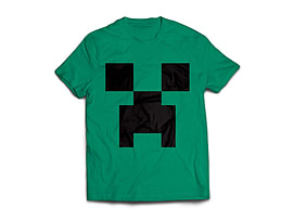 Minecraft Creeper Mens T-Shirt Green (Small) Clothing