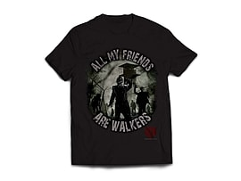 The Walking Dead All My Friends Are Walkers T-Shirt - Black (Large) Clothing