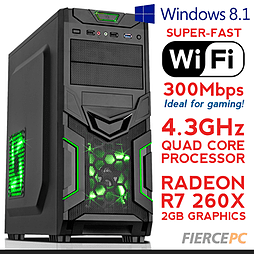 Fierce VENUS Quadcore Gaming PC, Athlon X4 860K 4.3 GHz, R7 260X 2GB, 8GB RAM, Wifi, Windows 8.1 PC