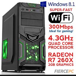 Fierce VENUS Quadcore Gaming PC, Athlon X4 860K 4.3 GHz, R7 260X 2GB, 8GB RAM, Wifi, Windows 8.1 PC