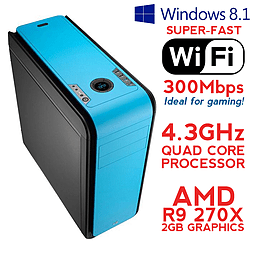 Fierce ARES Quadcore Gaming PC, Athlon X4 860K 4.3 GHz, R9 270X 2GB, 8GB RAM, Wifi, Windows 8.1 PC