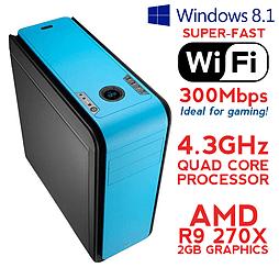 Fierce ARES Quadcore Gaming PC, Athlon X4 860K 4.3 GHz, R9 270X 2GB, 8GB RAM, Wifi, Windows 8.1 PC