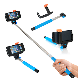 Frostycow Universal Bluetooth Selfie Monopod Camera Extension Arm For Mobile iPhone Samsung Blue Mobile phones