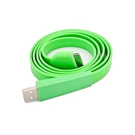 Frostycow Flat Vibrant Anti Tangle Coloured USB Cable Dock Connector for iPhone & iPad Green Mobile phones
