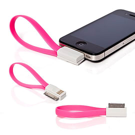 Frostycow Flat Magnetic Charging USB Cable For iPhone 3/4/S/iPod Pink Mobile phones