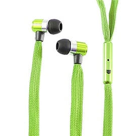 Frostycow Stereo 3.5mm Shoelace In Ear Noise Reducing Headphones For Tablet MP3 Smart Phone Green Mobile phones