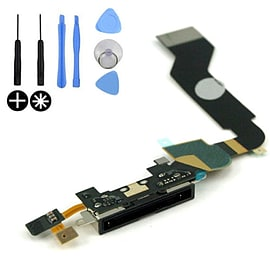 Frostycow Replacement Charging Port Dock Connector Flex Cable Part Mic For Apple iPhone 4 Black Mobile phones