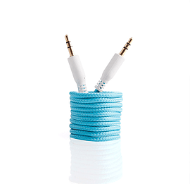 Frostycow 3.5mm to 3.5mm Strong Braided Coloured Jack Lead IPod Gold Aux Input Wire Cable Blue Audio
