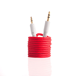 Frostycow 3.5mm to 3.5mm Strong Braided Coloured Jack Lead IPod Gold Aux Input Wire Cable Red Audio