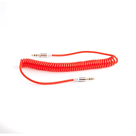 Frostycow Expanding Coil Retracting 3.5mm Coloured Jack Lead IPod Gold Aux Wire Cable Red Audio