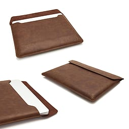 Frostycow Brown PU Leather Case Sleeve For Apple Macbook Pro & Retina 15 PC