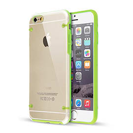 Frostycow Clear Hard Back Silicone TPU Bumper Cover Case For New Apple iPhone 6 Green Mobile phones
