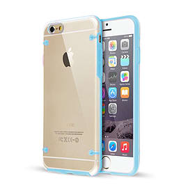 Frostycow Clear Hard Back Silicone TPU Bumper Cover Case For New Apple iPhone 6 PLUS Blue Mobile phones