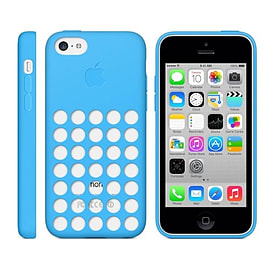 Frostycow Ultra Thin Coloured Polka Dot Hole Gel Case For Apple iPhone 5C Blue Mobile phones