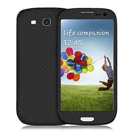 Frostycow Complete Carbon Fibre Back Vinyl Wrap Sticker Skin Cover for Samsung Galaxy S4 Black Mobile phones