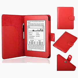 Frostycow Ultra Slim PU Leather Case for New Amazon Kindle Paperwhite 5 Wifi Red Tablet