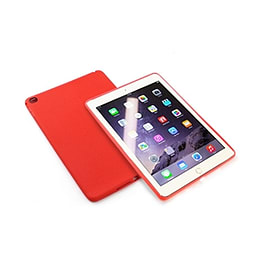 Frostycow Slim Gel Silicone Back Case Cover For Apple iPad 6 Air 2 & Screen Protector Red Tablet