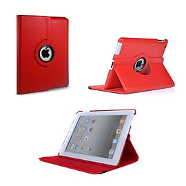 Frostycow 360 Degree Rotating PU Leather Case Stand for Apple iPad Mini Red Tablet