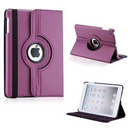 Frostycow 360 Degree Rotating PU Leather Case Stand for Apple iPad Mini Purple Tablet